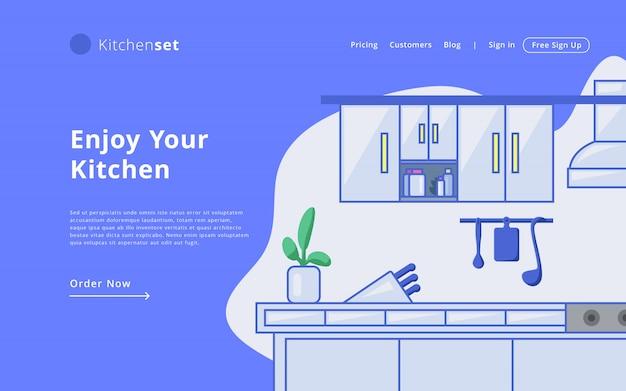 Modello di web site di modello di pagina di destinazione set cucina moderna in linea moderna