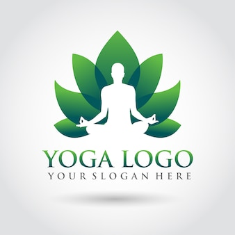 Modello di yoga logo design. stile minimalista zen logo