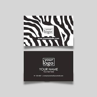 Modello di zebra bianco e nero di progettazione di biglietto da visita