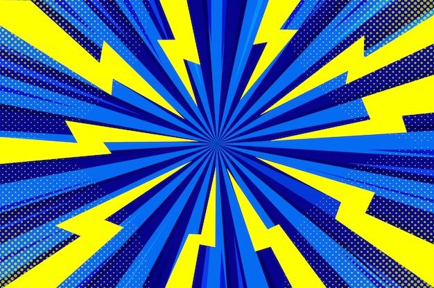 Modello di zoom mezzetinte stile fumetto comico blu astratto.