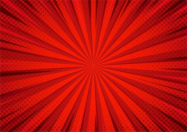 Modello di zoom mezzetinte stile fumetto rosso astratto.