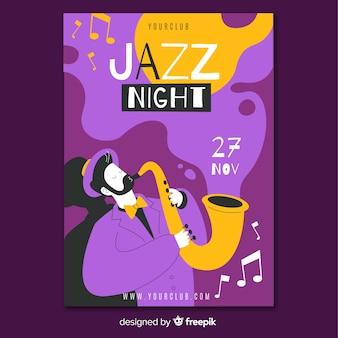Modello disegnato a mano astratto del manifesto di musica jazz