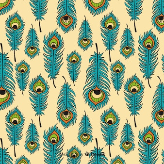 Modello disegnato a mano bella piuma di pavone