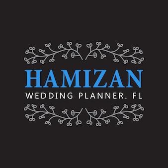 Modello disegnato a mano del fiore del distintivo di nozze planner