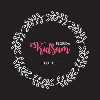 Modello disegnato a mano del fiore di frame badge del fiorista