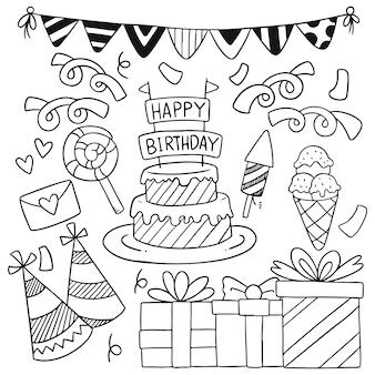 Modello disegnato a mano del fondo degli ornamenti di buon compleanno di scarabocchio del partito