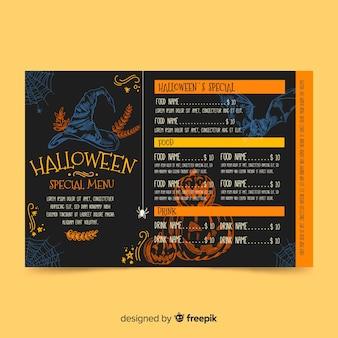 Modello disegnato a mano del modello di menu di halloween