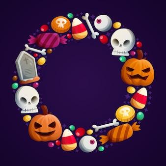 Modello disegnato a mano della struttura di halloween con i crani con la zucca