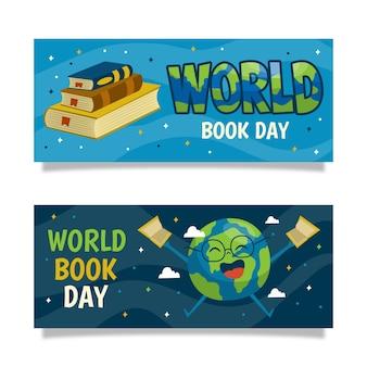 Modello disegnato a mano delle insegne di giorno del libro di mondo