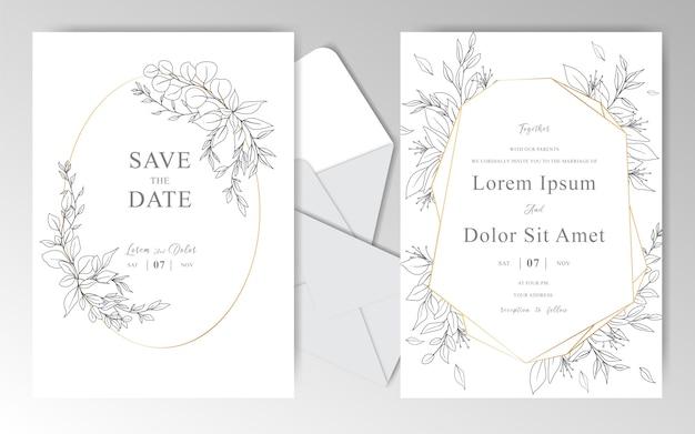 Modello disegnato a mano elegante delle carte dell'invito di nozze con le belle foglie