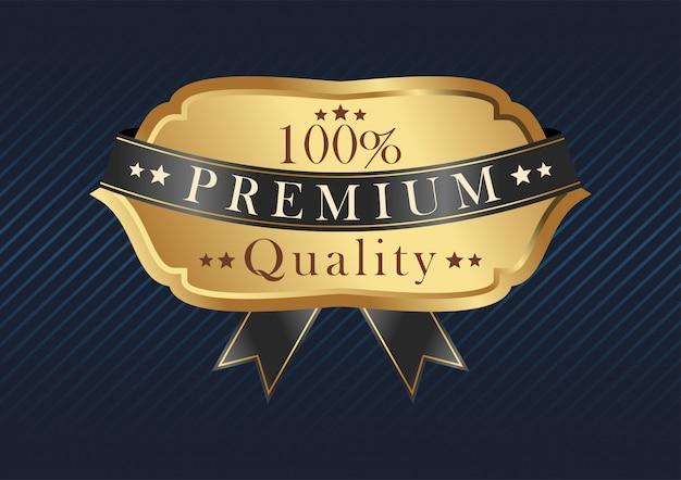 Modello distintivo d'oro con nastro nero. distintivo premium