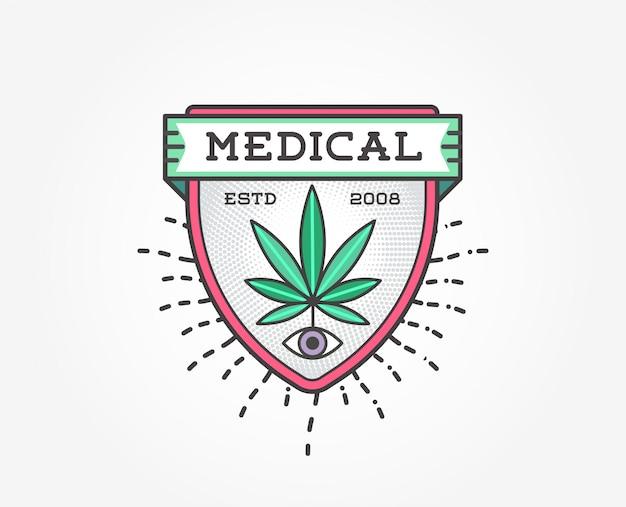 Modello distintivo di marijuana cannabis medica