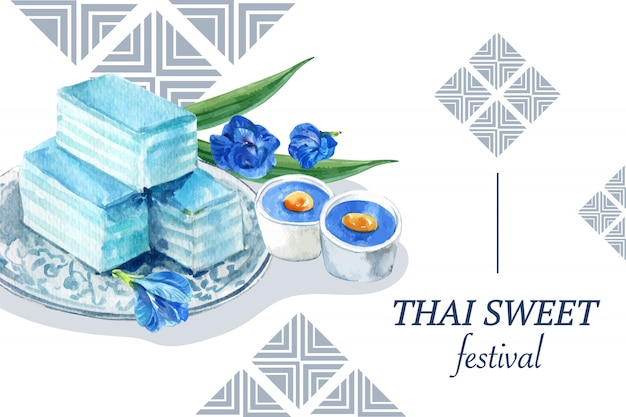 Modello dolce tailandese dell'insegna con budino, acquerello stratificato dell'illustrazione della gelatina.