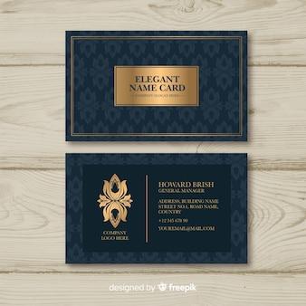 Modello dorato elegante biglietto da visita