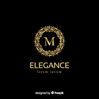 Modello dorato elegante logo con ornamenti