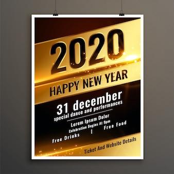 Modello dorato volantino o poster celebrazione felice nuovo anno 2020