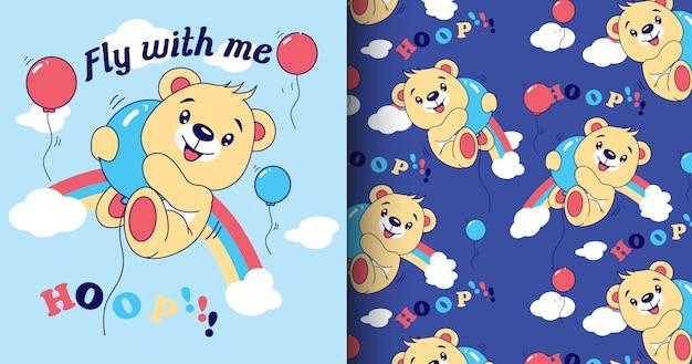 Modello e carta dell'orso sveglio disegnato a mano
