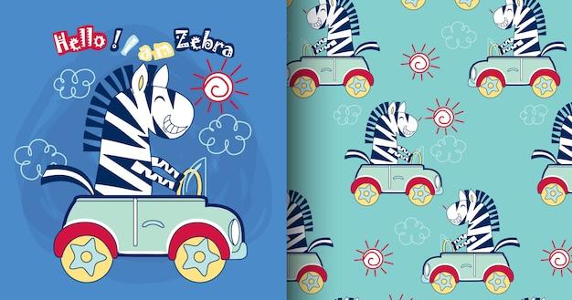 Modello e carta svegli della zebra disegnati a mano