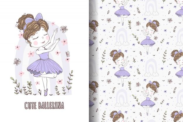 Modello e illustrazione disegnata a mano di balletto di danza della ragazza sveglia