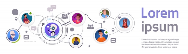 Modello ed elementi di infographic di comunicazione del bot di chiacchierata con l'insegna di orizzontale di tecnologia di sostegno mobile del robot