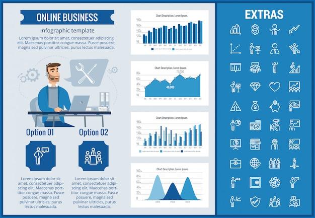 Modello ed elementi infographic di affari online