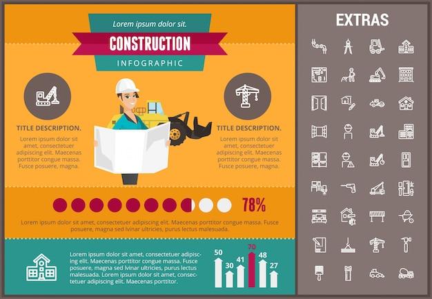 Modello ed elementi infographic di costruzione