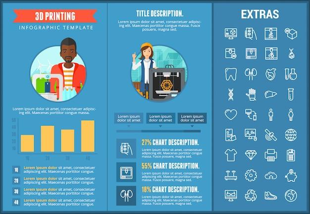 Modello ed elementi infographic di stampa 3d