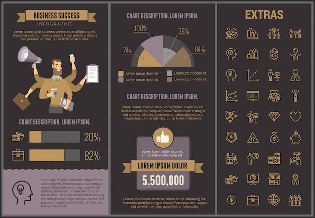 Modello ed elementi infographic di successo di affari