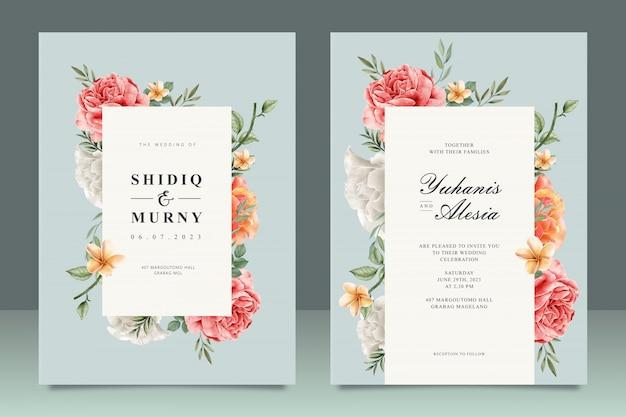 Modello elegante carta di matrimonio con cornice floreale multiuso