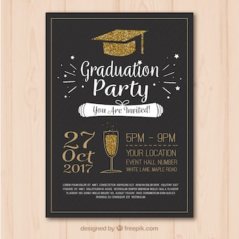 Modello elegante del manifesto del partito di graduazione con elementi dorati