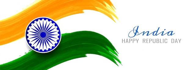 Modello elegante dell'insegna di tema astratto della bandiera indiana