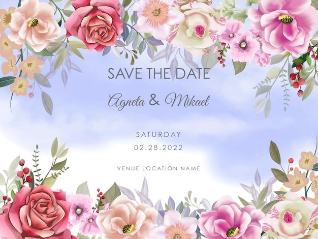 Modello elegante dell'invito della partecipazione di nozze del fiore e delle foglie