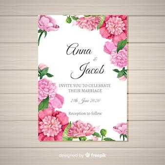 Modello elegante dell'invito di nozze con il concetto dei fiori della peonia