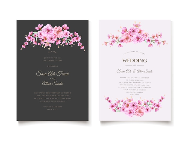 Modello elegante dell'invito di nozze del fiore di ciliegia