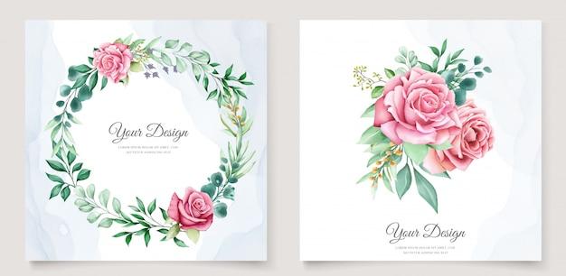 Modello elegante dell'invito di nozze dell'acquerello