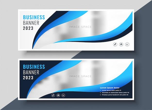 Modello elegante della bandiera di affari di presentazione blu