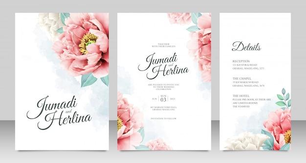 Modello elegante della carta dell'invito di nozze delle peonie dell'acquerello