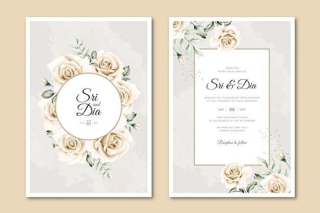 Modello elegante della partecipazione di nozze con l'acquerello del giardino floreale