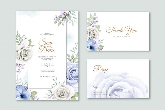Modello elegante della partecipazione di nozze con l'acquerello delle foglie e dei fiori