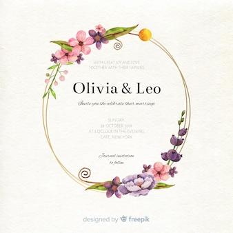 Modello elegante della partecipazione di nozze della struttura floreale dell'acquerello