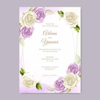 Modello elegante rosa bianca dell'invito di nozze