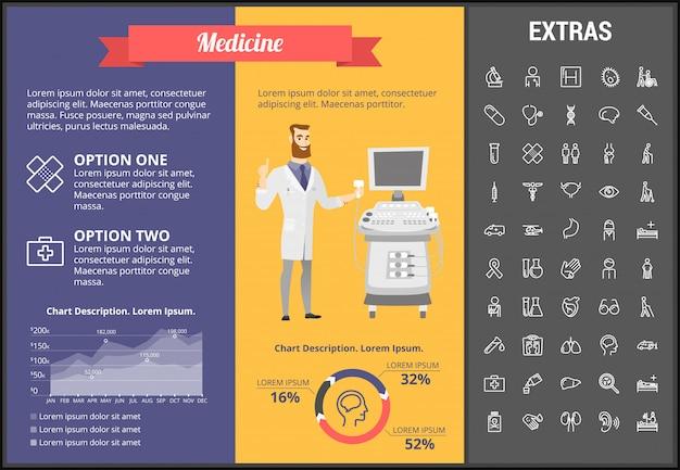 Modello, elementi ed icone infographic della medicina
