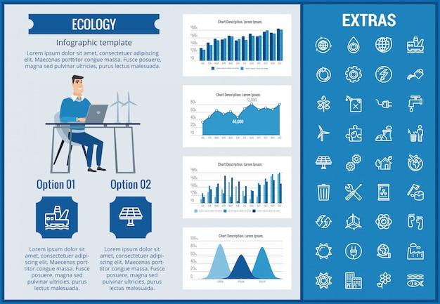 Modello, elementi ed icone infographic di ecologia