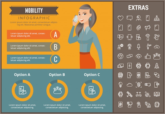 Modello, elementi ed icone infographic di mobilità
