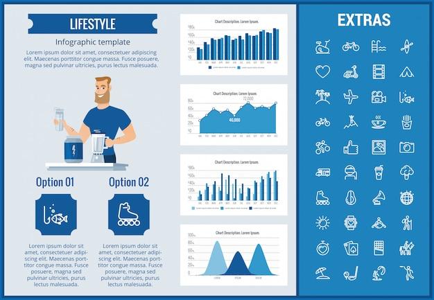 Modello, elementi ed icone infographic di stile di vita
