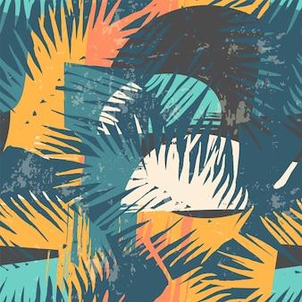 Modello esotico senza saldatura con piante tropicali e sfondo artistico.