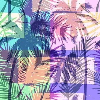 Modello esotico senza soluzione di continuità con palma tropicale su sfondo geometrico in colore luminoso.