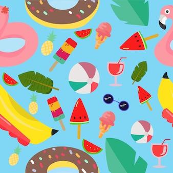 Modello estivo di fenicotteri, gelati, palline, anguria ghiacciata, ciambella e banana ballon