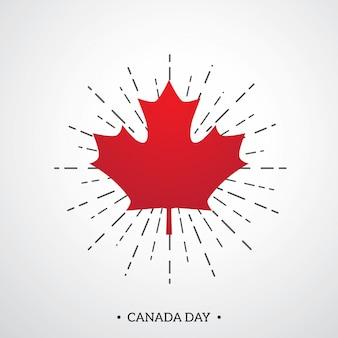 Modello felice del manifesto di giorno del canada con la foglia di acero rossa