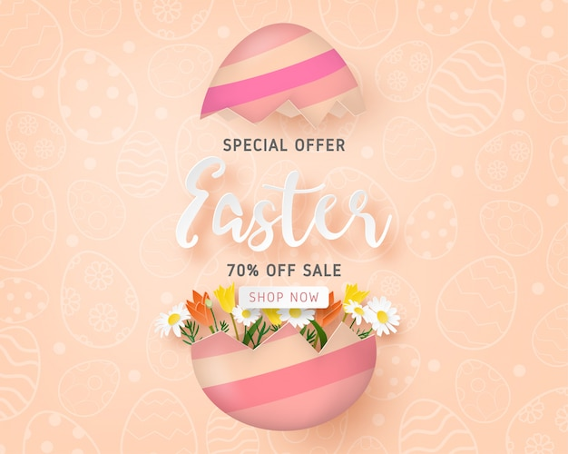 Modello felice dell'insegna di vendita di pasqua con l'uovo di pasqua ed il fiore